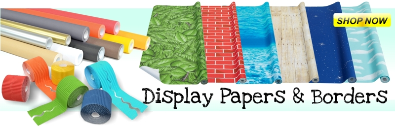 Display Assortments, Fadeless Display Paper, Designs Display Paper, Embossed Display Paper, Flame Retardant Paper, Poster Paper, Bordette Display Border, Fadeless Card Border Rolls, Poster Paper Borders, Bolder Borders, Die Cut Display Trimmers, Display Trimmers, Display Accents, Display Fabric