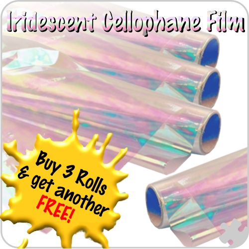 Iridescent Cellophane Film, 4 Rolls for the price of 3