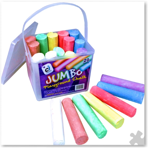 Jumbo Playground Chalks, 20 Assorted