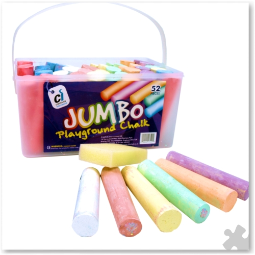 Jumbo Playground Chalks, 52 Assorted