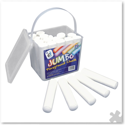 Jumbo Playground Chalks, 20 White