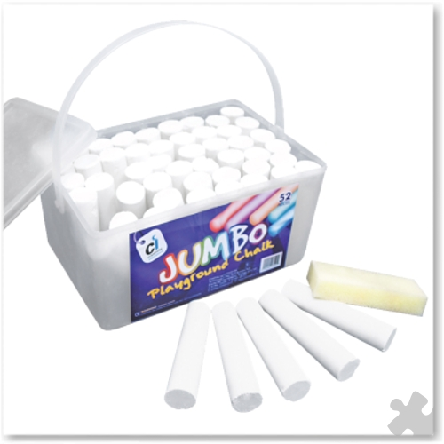 Jumbo Playground Chalks, 52 White