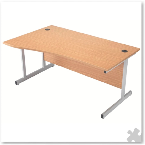 1600mm Left Hand Wave Desk with Cantilever Legs