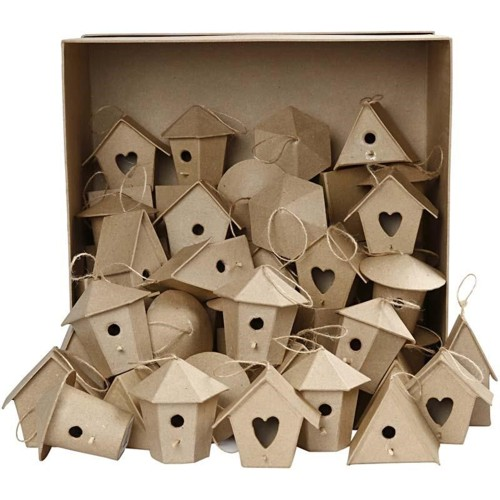 Mini Bird Houses, 60 Assorted