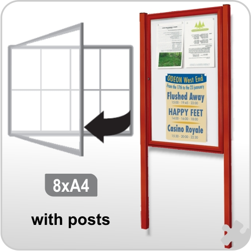 8 x A4 Notice board with Posts - Coloured