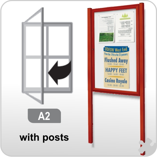 A2 Notice Board with posts - Coloured