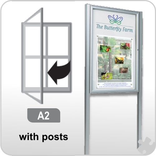 A2 Notice Board with posts - Anodised