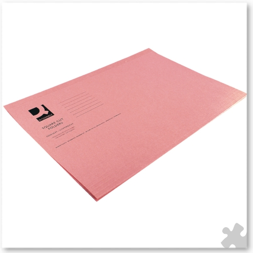 Square Cut Light Weight Folders, 100 Pink