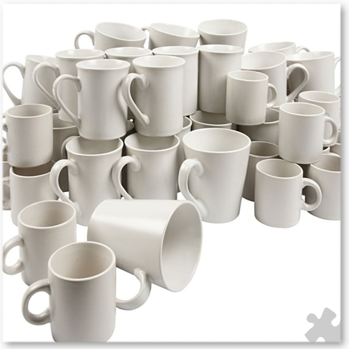 Porcelain Mugs, 48 Assorted Shapes