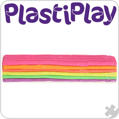 PlastiPlay Rainbow Neon Colours modelling material