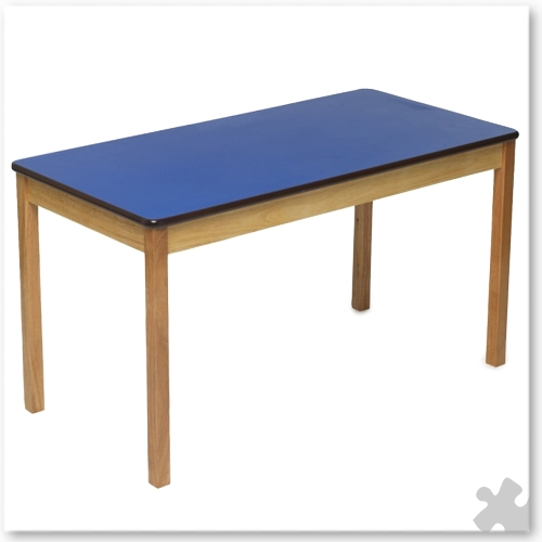 Rectangular Wooden Table in Blue