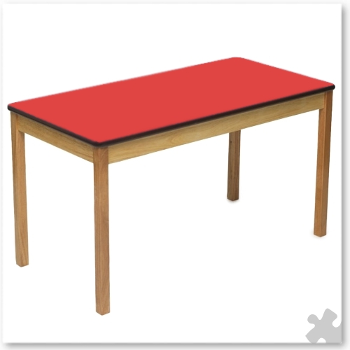 Rectangular Wooden Table in Red