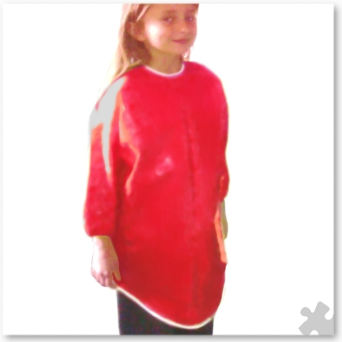 Childrens Red PVC Long Sleeved Apron, Ages 6-8