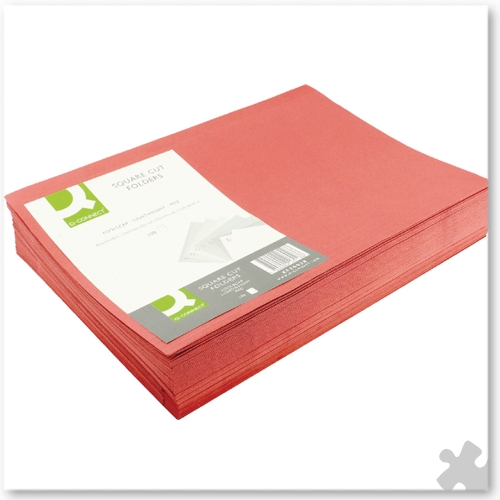Square Cut Light Weight Folders, 100 Red