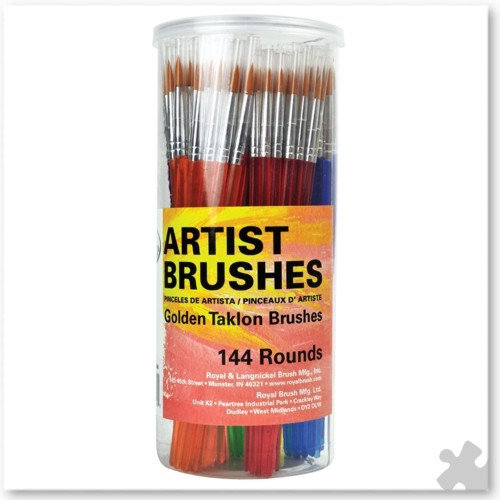 Golden Taklon Round Brushes, 144 Canister