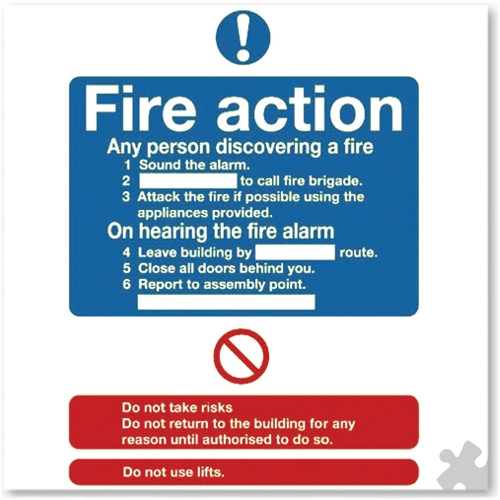 Fire Action Self-Adhesive Safety Sign