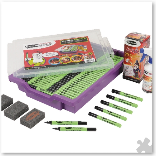 Show-me, 200 Dry Wipe Pens in Gratnells Tray