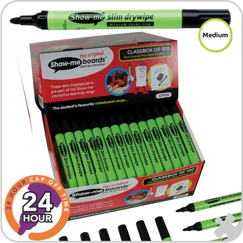 Show-me, 100 Medium Tip Drywipe Pens, Black