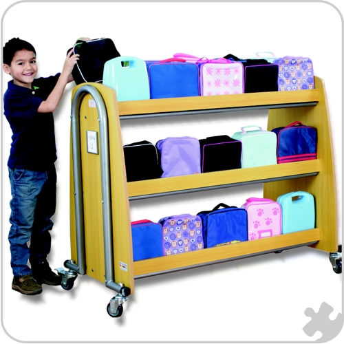 Single Lunchbox Trolley - Beech Wood