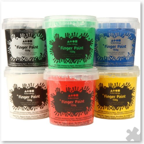 Finger Paints In 6 Standard Colours, 150ml Tubs