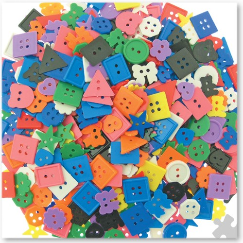 Plastic Buttons in Assorted Geometric Shapes