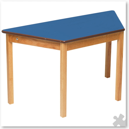 Trapezoidal Wooden Table in Blue