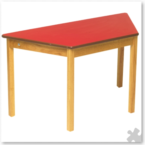 Trapezoidal Wooden Table in Red