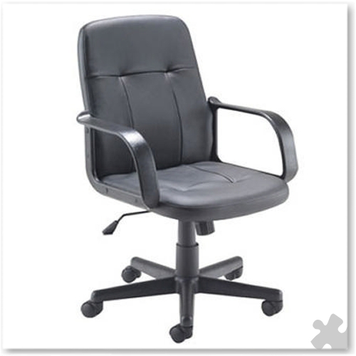 Leather Look Executive Chair With Arms, Black