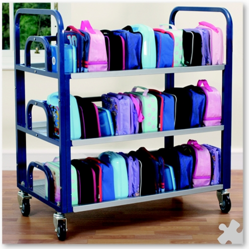 Double Lunch Box Trolley - Blue & Silver Metal