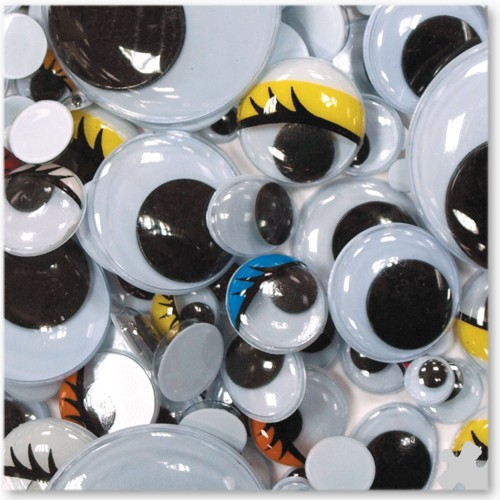 Assorted Wiggly Eyes with Self-Adhesive Backing, 1000 pack
