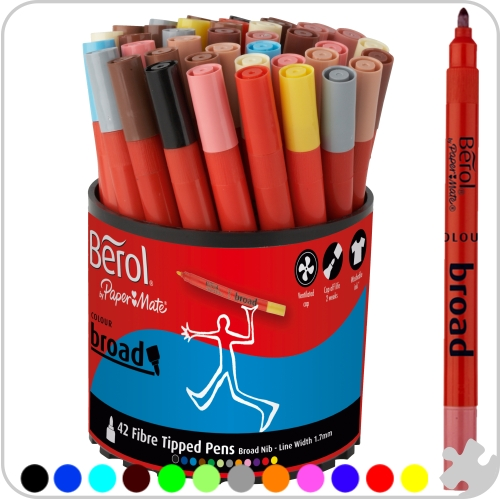 Berol Colourbroad Fibre Tip Pens - 42 Assorted