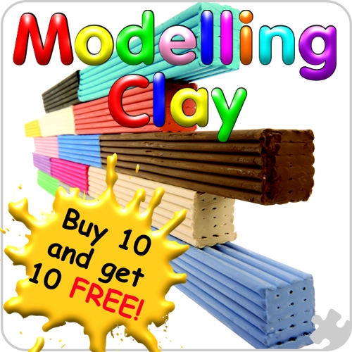 Coloured Non-drying Modelling Clay, 500g Bar