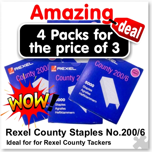 Rexel County Staples 200/6 - 4 for Price of 3