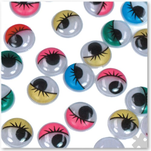 15mm Wiggly Eyes With Eyelashes in Assorted Colours