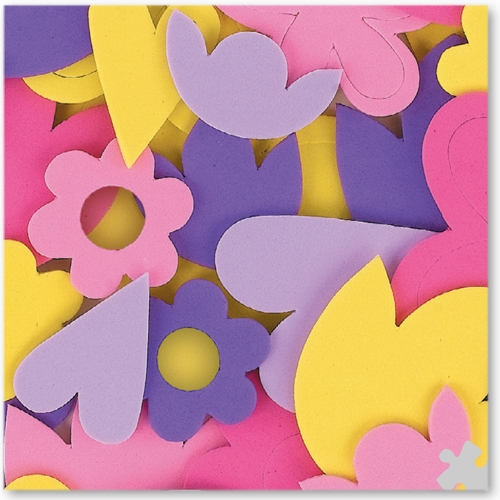 Foam Flower Shapes, Self-adhesive