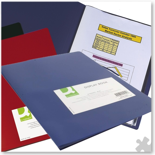 A4 Display Book Blue Polypropylene Cover, 10 Pockets