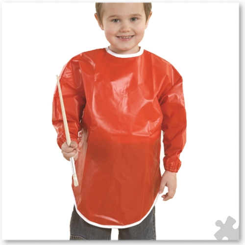 10 Red PVC Aprons for Ages 3-4 Years