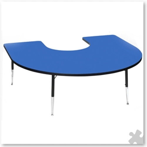 Tuf-Top Blue Horseshoe Table
