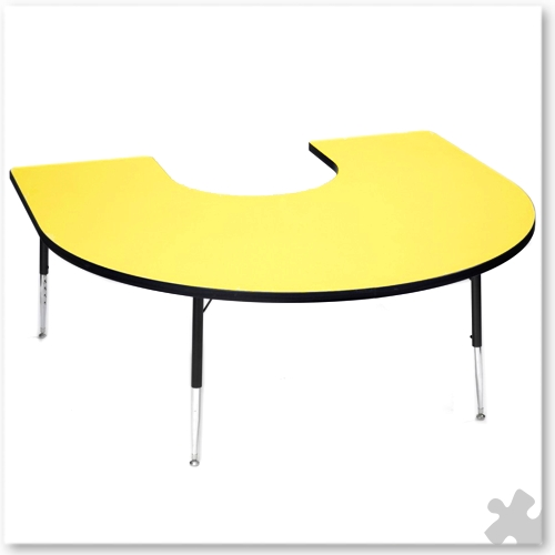 Tuf-Top Yellow Horseshoe Table