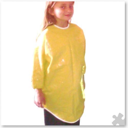 Childrens Yellow PVC Long Sleeved Apron, Ages 6-8